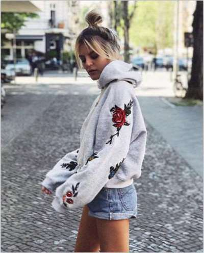 Fashion Embroidery Long sleeve Hoodies Sweatshirts