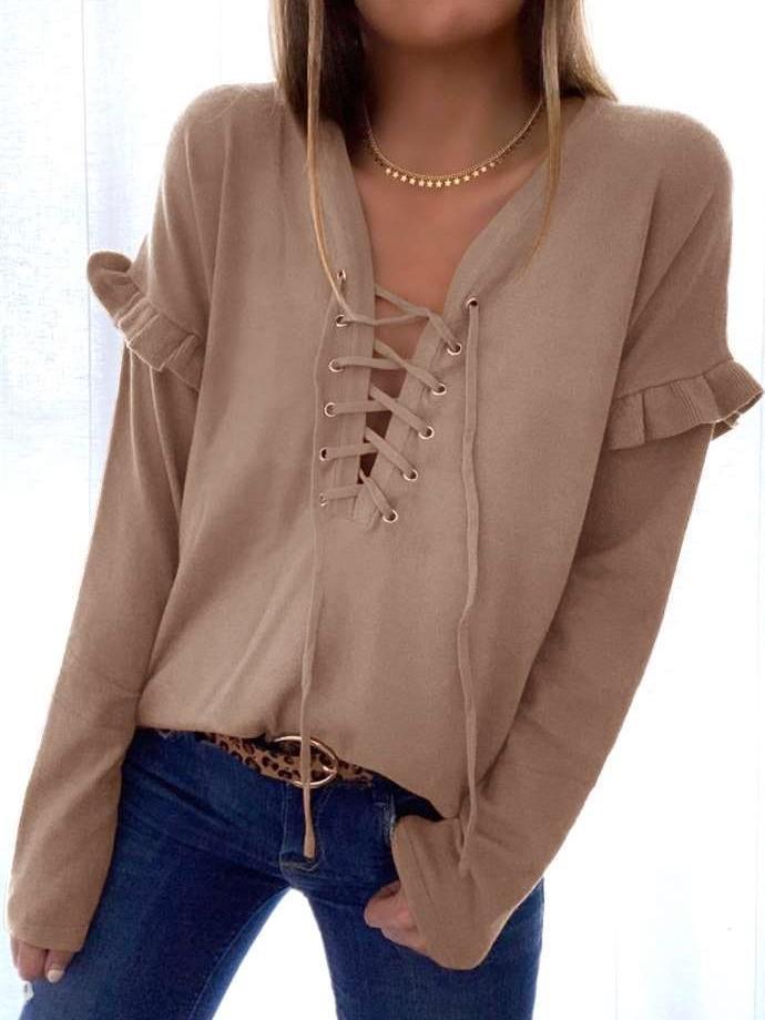 Casual Pure V neck Lacing Long sleeve Falbala T-Shirts
