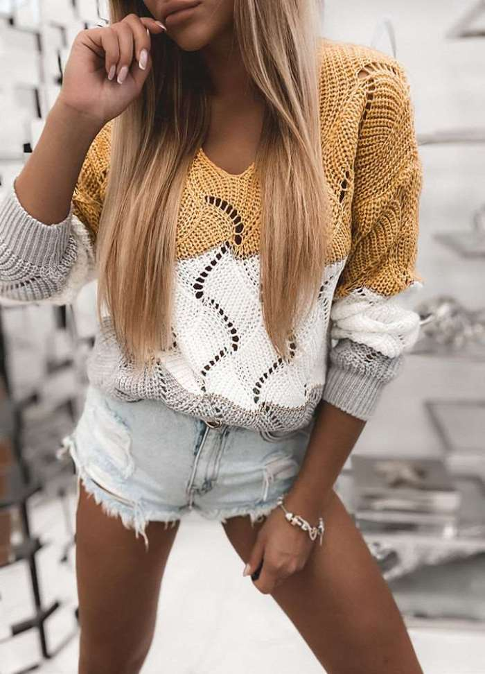 Fashion Gored Hollow out V neck Knit Long sleeve Sweaters
