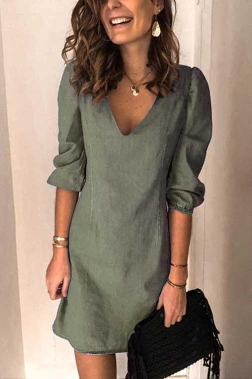 Casual V Neck Elastic Cuff Sleeve Mini Dress