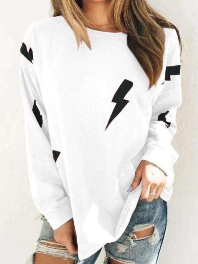 Casual Lightning print Round neck Long sleeve T-Shirts