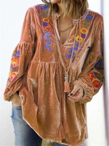 Casual Loose Plush Floral print V neck Long sleeve Gored Lacing Sweatshirts