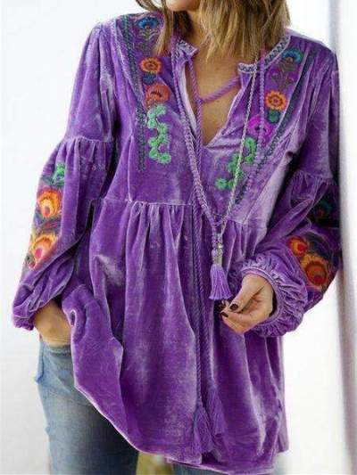 Casual Loose Plush Floral print V neck Long sleeve Gored Lacing Sweatshirts