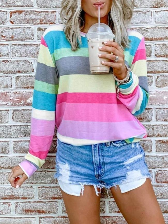 Chicindress Rainbow Striped Multicolor Thin Tops Sweatshirts