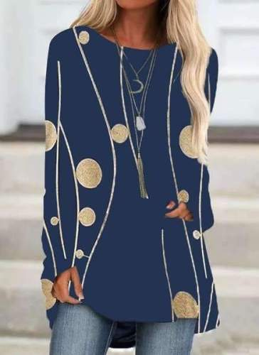Casual Print Round neck Long sleeve Plus T-Shirts