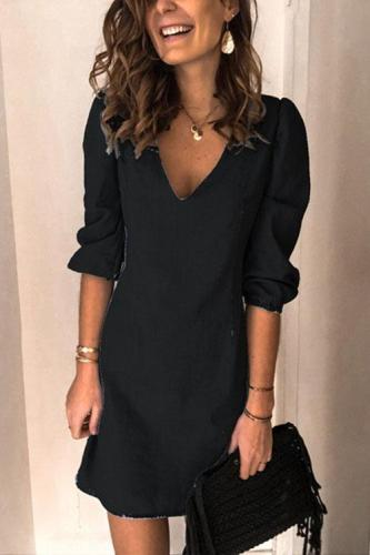 Casual V Neck Elastic Cuff Sleeve Mini Dress
