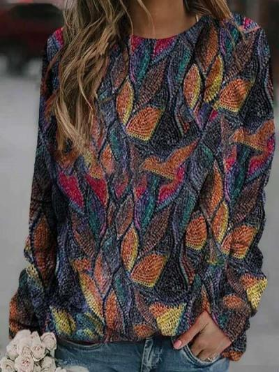 Fashion Retro print Round neck Long sleeve Sweatshirts