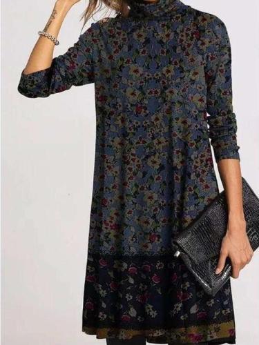Casual Retro print High collarLong sleeve Gored Shift Dresses