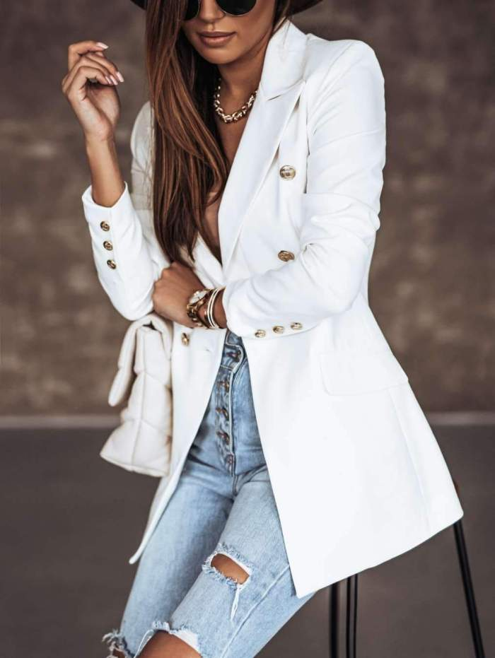 Casual Pure Lapel Long sleeve Double-breasted Blazer