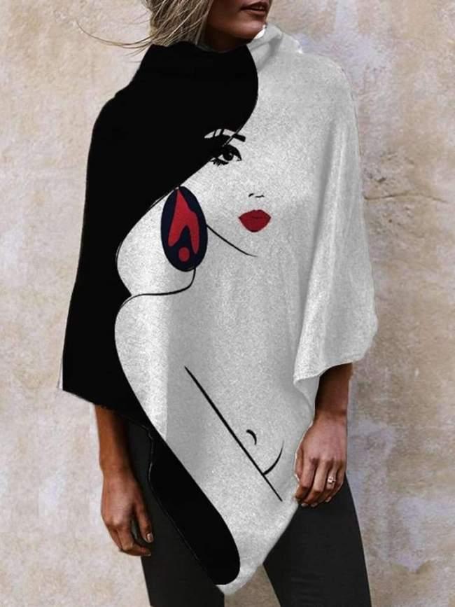 Fashion Abstract print High collar Irregular Cappa T-Shirts