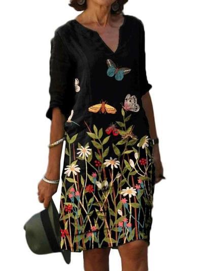 Casual Floral print V neck Half sleeve Shift Dresses