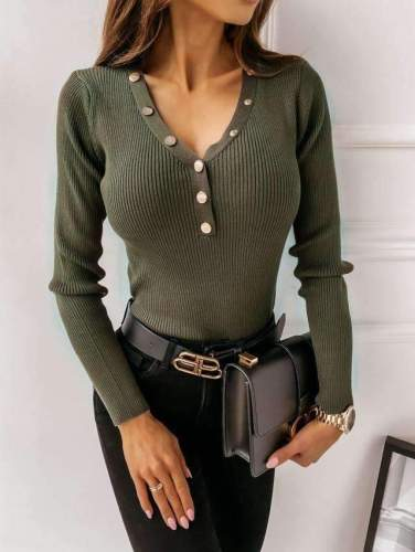 Sexy Pure V neck Long sleeve Knit Fastener Sweaters