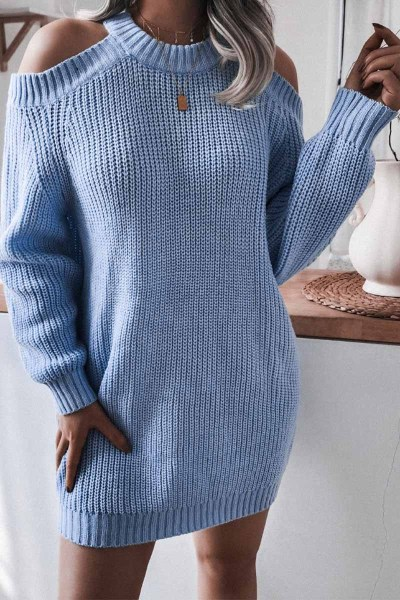 Chicindress Loose Off Shoulder Long Sleeves sweater Shift Dresses