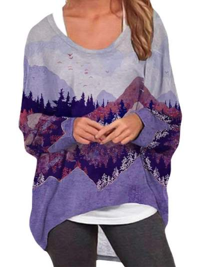 Casual Loose Plus Landscape print Round neck Long sleeve T-Shirts