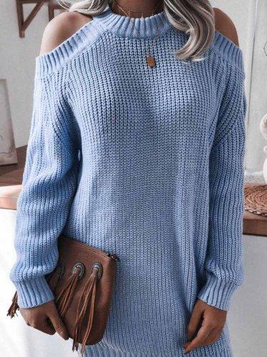 Chicindress Loose Off Shoulder Long Sleeves sweater Shift Dresses