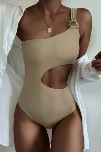 One-Shoulder Sexy Leaky Waist One-Piece Swimsuit
