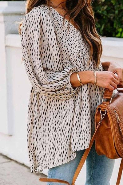 Loose And Simple V-Neck Floral Tops
