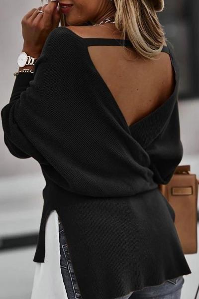 V-Neck Lantern Sleeve Stitching Tops
