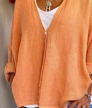 Casual Loose Plus Pure V neck Long sleeve Blouses