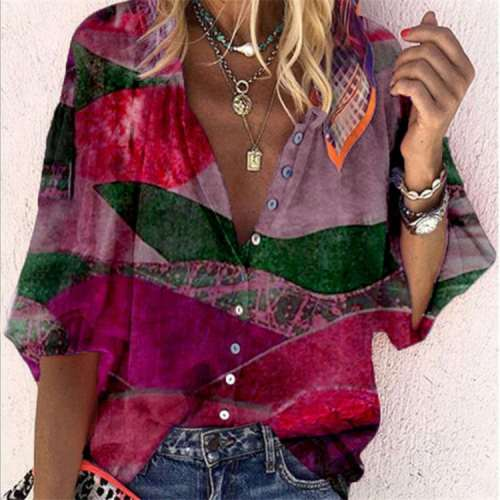 Casual Loose Retro print V neck Long sleeve Blouses