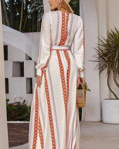 Fashion Stripe print V neck Long sleeve Lacing Falbala Maxi Dresses