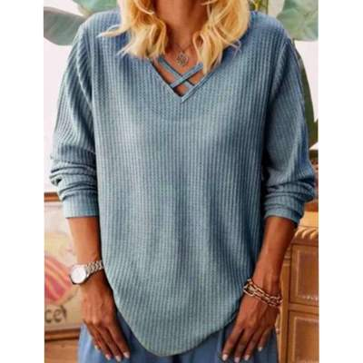 Casual Pure V neck Long sleeve Knit Sweaters