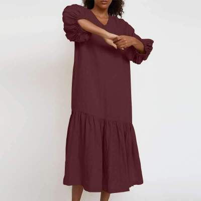 Casual Loose Pure V neck Long sleeve Gored Maxi Dresses