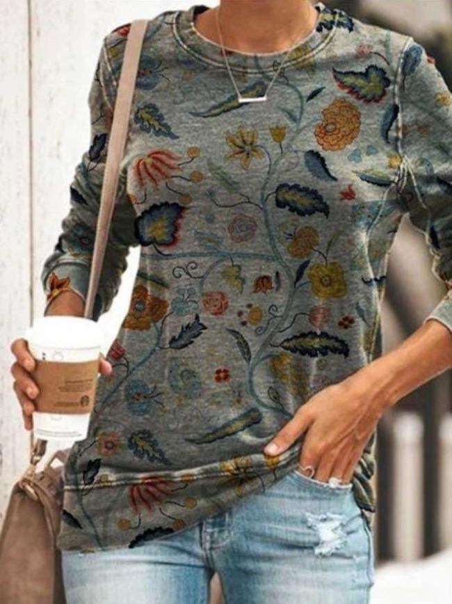Fashion Retro print Round neck Long sleeve T-Shirts
