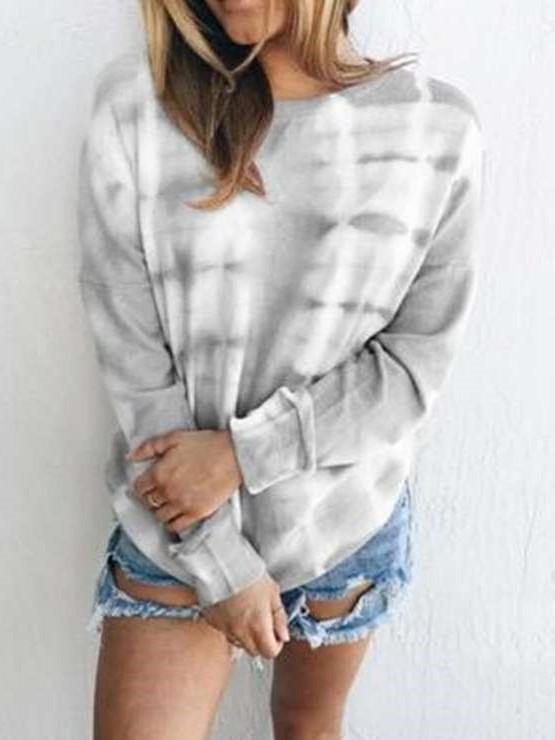 Casual  Bandhnu print Round neck Long sleeve T-Shirts