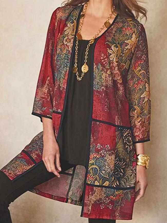 Casual Retro print V neck Three quarter sleeve Gored Coats
