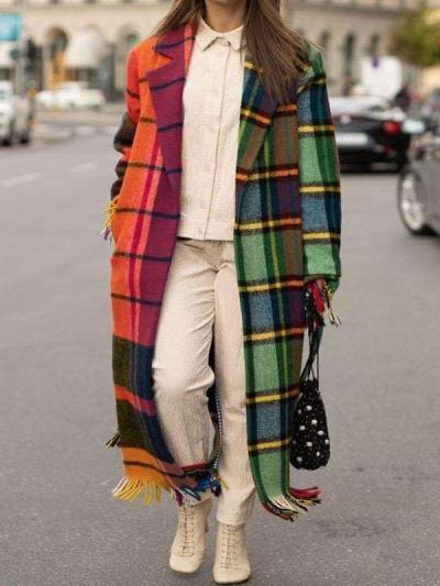 Fashion Casual Gored Plaid print Lapel Long sleeve Macrame Trench Coats
