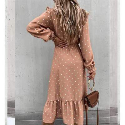 Fashion Point print V neck Fastener Long sleeve Gored Vent Skater Maxi Dresses