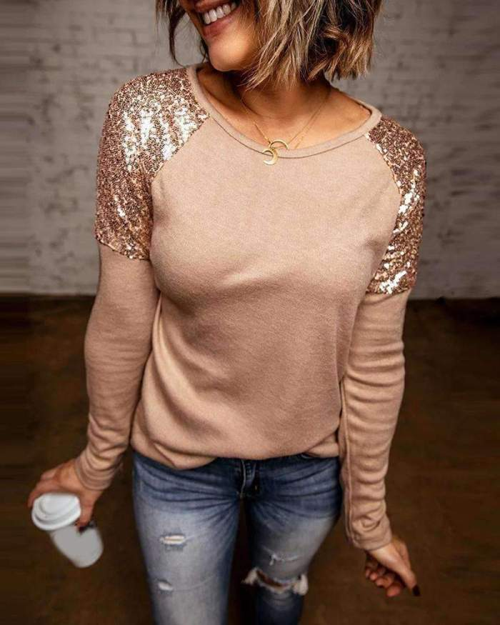 Fashion Gored Paillette Round neck Long sleeve T-Shirts