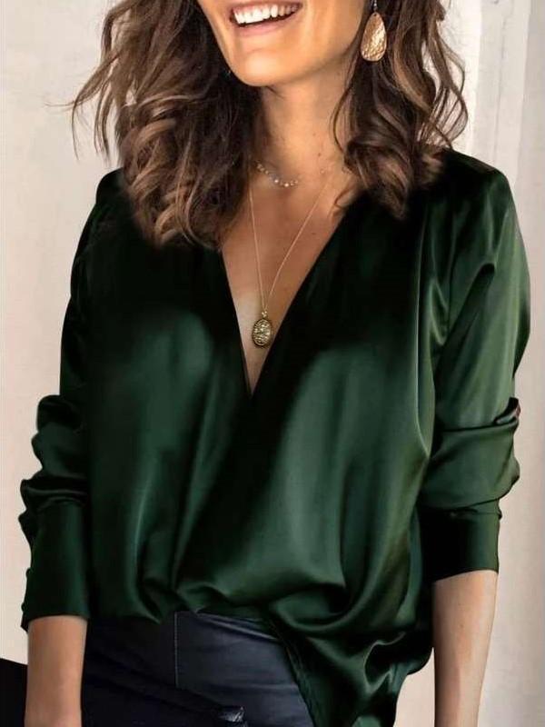 Fashion Casual Pure V neck Long sleeve Blouses
