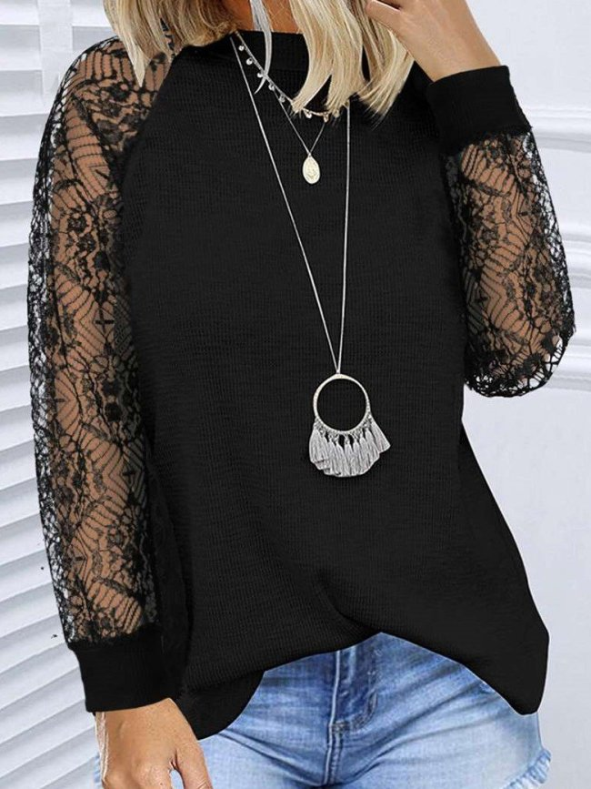 Fashion Lace Gored Round neck Long sleeve T-Shirts