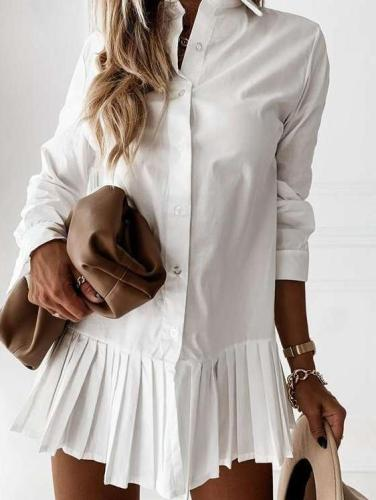 Fashion Pure Lapel Long sleeve Fastener Gored Shift Shirt Dresses