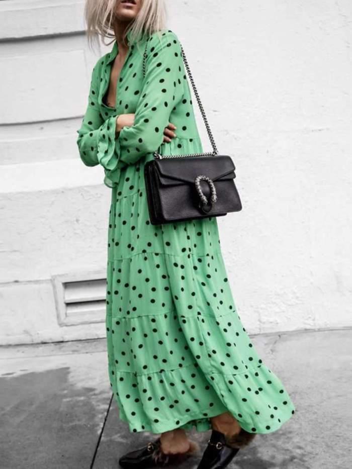Casual Loose Point print V neck Long sleeve Big hem Maxi Dresses