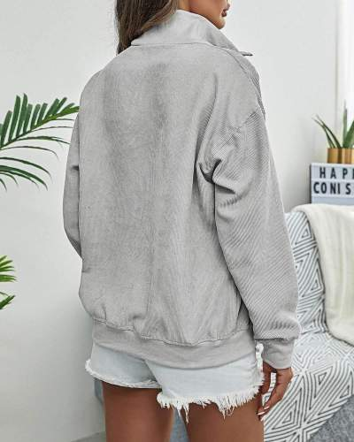 Casual Loose Pure Lapel Zipper Long sleeve Sweatshirts