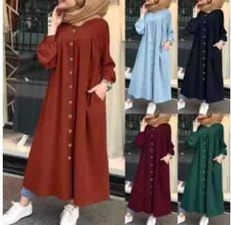 Fashion Pure Gored Fastener Long sleeve Pocket Maxi Dresses