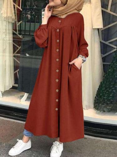 Fashion Pure Gored Fastener Long sleeve Pocket Maxi Dresses