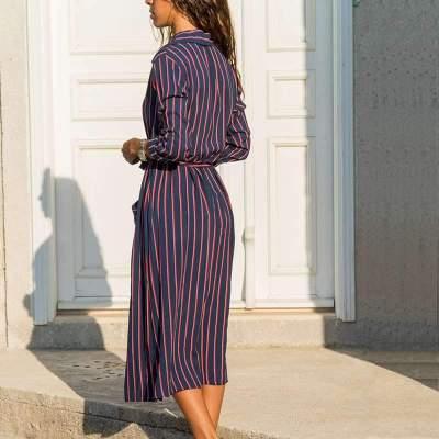 Fashion Print Lapel Long sleeve Pocket Lacing Shirt Maxi Dresses