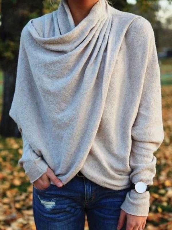 Casual Loose Pure Neckerchief Long sleeve Irregular Sweatshirts