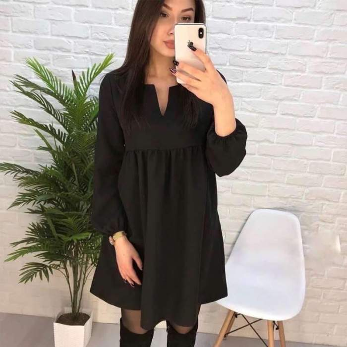 Casual Pure Gored V neck Long sleeve Shift Dresses
