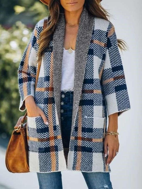 Fashion Plaid print Lapel Long sleeve Coats