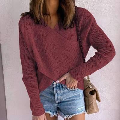 Fashion Cross V neck Pure Long sleeve Sweaters