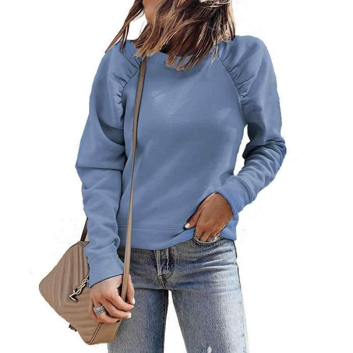 Casual Pure Gored Round neck Long sleeve Sweatshirts
