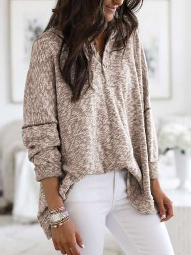 Casual V neck Fastener Long sleeve Knit Sweaters