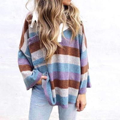Casual Loose Stripe print Polo Long sleeve Sweatshirts
