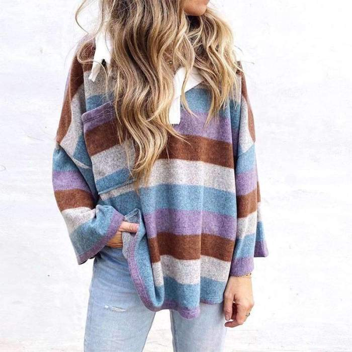 Casual Loose Stripe print Polo Long sleeve Sweatshirts