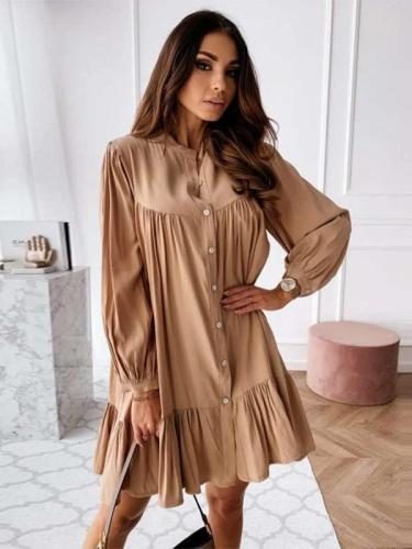 Casual Loose Gored Falbala Round neck Long sleeve Shift Dresses